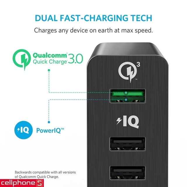 Sạc Anker PowerPort+ 6 hỗ trợ Quick Charge 3.0
