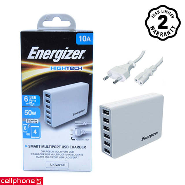 Sạc Energizer Hightech Smart Multiport 6 USB Charger USA6EEUHWH5