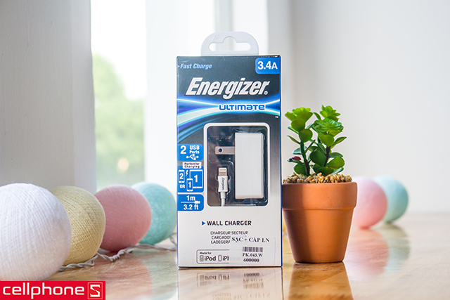 Sạc Energizer Ultimate Wall Charger Lightning 3.4 A ACA2CUSULI3