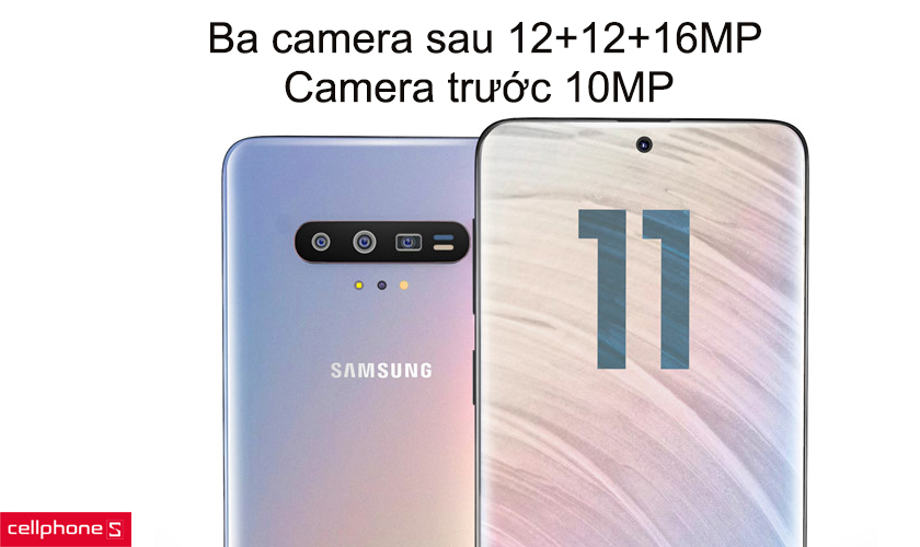 Ba camera sau 12+12+16MP, camera trước 10MP