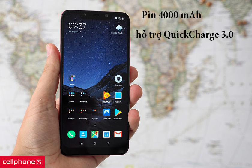 pin 4000 mAh, hỗ trợ Quick Charge 3.0